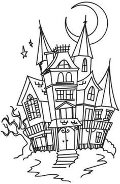 Coloring Page World: Moonlit Mansion