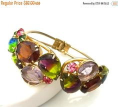 Multi-Color Rhinestone Clamper Bracelet, Hinged Bangle, Bi-Color Stones, Gold Tone, 1960