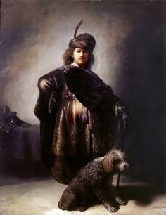"Rembrandt, ""Self-portrait in oriental attire with poodle"" (1631-33), oil on oak panel. The artist created around 80 self-portraits in his lifetime. (via Musée des Beaux-Arts de la Ville de Paris)"