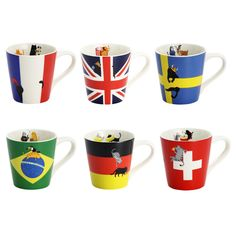 "Enjoy an international cat celebration with National Flag Cat Mugs from Ceramic Ai! You can choose from France, England, Sweden, Brazil, Germany, and Switzerland, and each design features cute kitties enjoying national specialities and famous landmarks! These porcelain mugs measure 3.3"" x 3.3"", and they're dishwasher and microwave safe. Each comes in an eye-catching box, making them ... #tokyootakumode #homekitchen #Cats"