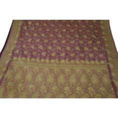 Vintage Indian Saree Art Silk Woven Fabric Décor Craft Used Paisley Purple Sari