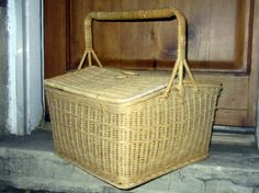 English Vintage Wicker Basket Picnic Sewing by JewelsRosesNRust, $42.50