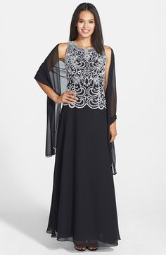 Buy J Kara Women's Black Embellished Bodice Chiffon Gown & Shawl, starting at £89. Similar products also available. SALE now on!