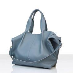 Torba worek - tote bag, wykonana ze skóry naturalnej bydlęcej o strukturze Shopper Bag, Zipper, Blue, Fashion, Moda, La Mode, Fasion, Fashion Models, Trendy Fashion