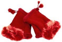 Red Warm Fingerless Gloves with Fur Trim