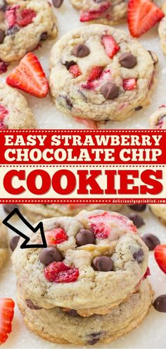 Say hello to your new favorite dessert! With everything you love about chocolate-covered strawberries, these easy homemade cookies will become your obsession. Save this fresh Strawberry Chocolate Chip… Delicious Cookie Recipes, Easy Cookie Recipes, Yummy Cookies, Easy Desserts, Snack Recipes, Dessert Recipes, Strawberry Chocolate Chip Cookies Recipe, Strawberry Desserts, Desert Recipes