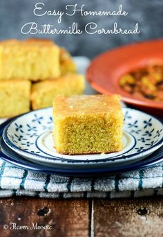 Easy Homemade Buttermilk Cornbread is a semi-sweet golden cornbread tha goes great with soup, chili, gumbo, or just about anything.