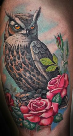 Owl and roses tattoo, GUIOX,TATTOO KITS SALES ONLINE. Everyone who love tattoo,just flowing me!!!!!