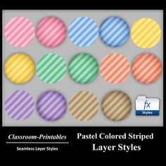 Photoshop Layer Styles.      Pastel Colored Striped Layer Styles for photoshop available for purchase at: www.classroom-printables.com    photoshop layer styles, scrapbooking, text effects