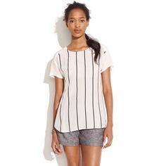 "[Madewell] Pinstriper Spotlight Tee Get free shipping! Offer $6 off listed price for automatic acceptance!  Vintage inspired sporty stripes top an easy, silky shape bits a home run. Gently used. Silk. 19"" across bust, 26"" long.   32411M Madewell Tops Blouses"