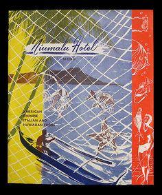 1940's souvenir dinner menu, front cover  souvenir dinner menu from Niumalu Hotel - Waikiki, Hawaii