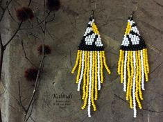 chamomile earrings/stripes/Extra long Minimalist yellow Earrings/Fringe/beaded/beadwork/minimal/summer earrings with flowers - Earrings - Beaded Earrings Patterns, Beading Patterns, Beaded Jewelry, Beading Tutorials, Bracelet Patterns, Diy Jewelry, Yellow Earrings, Seed Bead Earrings, Hoop Earrings