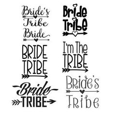 Wedding Bride Tribe Pack with Arrow and Heart Cuttable Design Cut File. Vector, Clipart, Digital Scrapbooking Download, Available in JPEG, PDF, EPS, DXF and SVG. Works with Cricut, Design Space, Sure Cuts A Lot, Make the Cut!, Inkscape, CorelDraw, Adobe Illustrator, Silhouette Cameo, Brother ScanNCut and other compatible software.