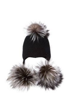 Cashmere Beanie With Silver Fox Fur Triple Pom by Inverni Now Available on Moda Operandi