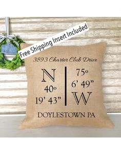 New House | Longitude and Latitude | Housewarming Gift | New Home Gifts | Personalized Pillow - Insert Included - FREE SHIPPING by SimplyFrenchMarket on Etsy