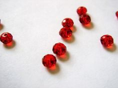 Czech Glass Faceted Red Rondelle Beads 3mm Set of 100 by five0101, $2.00