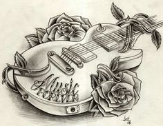Free Designs Music Guitar Tattoo Wallpaper 1024 X 768 Px Girly Tattoos, Music Tattoos, Trendy Tattoos, Rose Tattoos, New Tattoos, Tribal Tattoos, Tattoos For Guys, Tatoos, Music Tattoo Sleeves