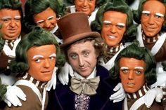 Gene Wilder and the Oompa Loompas in Charlie and the Chocolate Factory