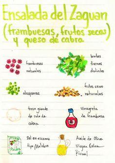 Ensalada de zaguan: frambuesas, frutos secos y queso de cabra
