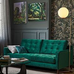 Get your home autumn-ready. 4 trends to try now. We love this jewel green sofa. Living Room Green, Living Room Sofa, Living Room Interior, Home And Living, Living Room Decor, Cottage Living, Modern Living, Living Area, Living Rooms