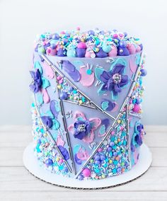 This was such a fun cake to create! When I saw the 'Spring Fling' blend, I was completely inspired to make a whimsical,… Cute Birthday Cakes, Beautiful Birthday Cakes, Beautiful Cakes, Pretty Cakes, Cute Cakes, Yummy Cakes, Candy Cakes, Cupcake Cakes, Wilton Cakes
