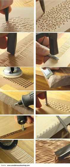 Ted's Woodworking Plans - 12 Ways To Add Texture With Tools You Already Have. This is for woodworking, but gets the creative ideas flowing for other projects ;) - Get A Lifetime Of Project Ideas & Inspiration! Step By Step Woodworking Plans Dremel Projects, Woodworking Projects Diy, Diy Wood Projects, Teds Woodworking, Wood Crafts, Woodworking Patterns, Woodworking Furniture, Woodworking Classes, Popular Woodworking