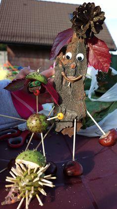Ludziki z kasztanów, kory, szyszek i liści