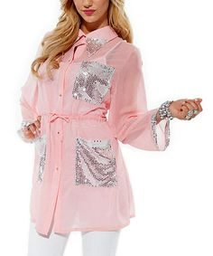 Look what I found on #zulily! Rose Sequin Sheer Button-Up Tunic #zulilyfinds