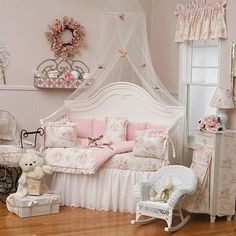 Pretty in pink and shabby chic girls bedroom.