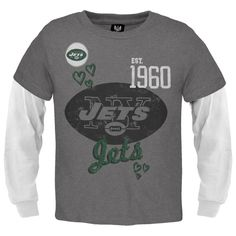 New York Jets - Glitter Hearts Girls Youth 2fer Long Sleeve T-Shirt