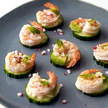 Shrimp and Avocado Appetizers- I think we'll make these tonight for the Golden Globes!