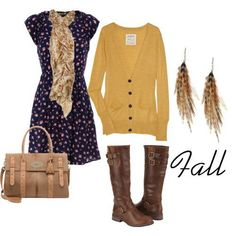 Sweet Dress with a Mustard Cardi-- I have to invest in a Mustard Cardi
