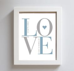 Personalized Wedding Gift Idea for Couples Love Art Print. $18.00, via Etsy.