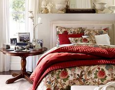 Bedroom: Wonderful Bedrooms in Christmas Decorating Themes, Simply Added Christmas Nuance of Bedroom With Red Color Accent from The Floral Comforter and Throw Pillows Motives also White Candles Decorated Over Round Top Wooden Bedside Table