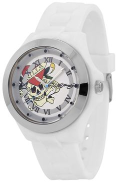 Keep track of time in the most fashionable way with this Ed Hardy watch. Known for tattoo-inspired designs, the rocker-chic piece captures the brand's quintessential style with a skull and crossbones graphic. Skull And Crossbones, Rocker Chic, Watches For Men, White Watches, Men's Watches, Watch Bands, Mists, Quartz, Shoe Bag