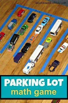 For kids who like cars, trains, etc. You can use the parking lot lines for adding or subtracting or estimating or comparing numbers of different vehicles that will fit in the parking lines (like on a ferry). Older kids could design their own parking lot with tape in a given area to see how many car spaces can fit in their lot.  If you change the design, does it change the number of spaces that fit, remembering to leave room for the cars to drive out of the lot?