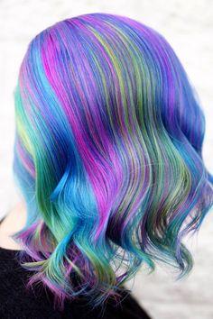 Creative Hair Color, Cool Hair Color, Hair Colors, Creative Hairstyles, Cool Hairstyles, Rainbow Opal, Dyed Hair, Hair Inspiration, Unicorn