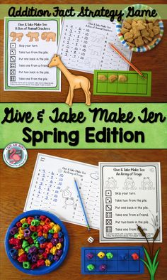 Give and Take Make Ten is a small group math game with spring themes for learning, practicing, and reviewing the Make 10 addition facts in kindergarten, first, and second grades. This is a hands-on game using counters and ten frames to provide concrete and visual support.