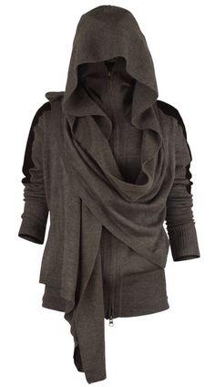 Grey Knit Hoodie With Built In Shawl Wrap Scarf Asymmetrical