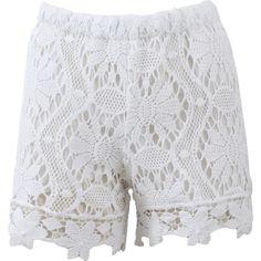 Temptation Positano Lace Shorts ($290) ❤ liked on Polyvore featuring shorts, lacy shorts, short shorts, lace shorts, white short shorts and white lace shorts
