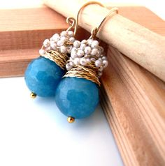 The Laurent II  fresh earrings with big faceted by anthology27, $36.95