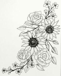 Super Blumen Tattoo Skizze Sonnenblumen 60 Ideen - Super Blumen Tattoo Skizze S. - Super Blumen Tattoo Skizze Sonnenblumen 60 Ideen – Super Blumen Tattoo Skizze Sonnenblumen 60 Id - Rose Tattoos, Leg Tattoos, Body Art Tattoos, Sleeve Tattoos, Tattoo Hip, Tatoos, Side Thigh Tattoos, Drawing Tattoos, Flower Thigh Tattoos