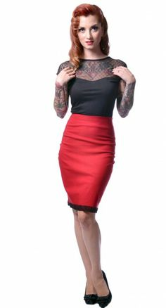 Steady Clothing | Sultry Skirt In Red | Blamebetty