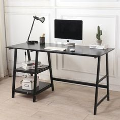 Small Bedroom Designs, Room Design Bedroom, Traditional Bookshelves, Trestle Desk, Floating Bookshelves, Wood Desk, Wood Wood, L Shaped Desk, Black Desk