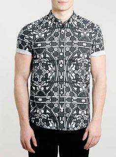 Mono Stained Glass Print Short Sleeve Shirt - Men's Shirts - Clothing