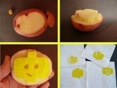 Using a potato as a stamp to make Lego themed napkins for a party