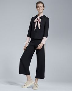 Side Stripe Wide Crop Trouser