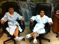 Fun time at a spa for boys and girls