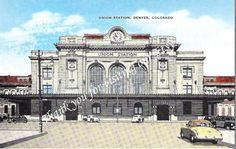 Old Postcard of Union Station in Denver, Colorado, Train Station