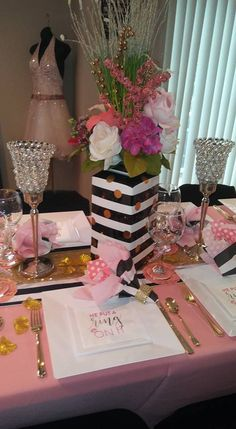 70th Birthday Parties, Sweet 16 Birthday, Mom Birthday, Kate Spade Party, Kate Spade Bridal, Bridal Shower Decorations, Birthday Decorations, Chanel Party